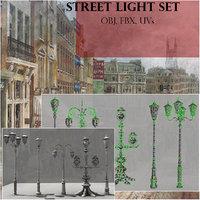 3D model set old style street lights