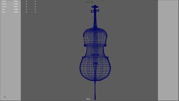 cello instrument 3D model