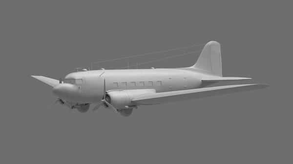 3D dc-3 aeroplane