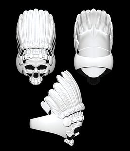 3D chief skull ring model