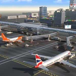 3D international airport hd
