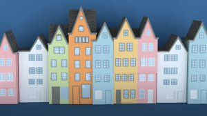 coloured old buildings european 3D model