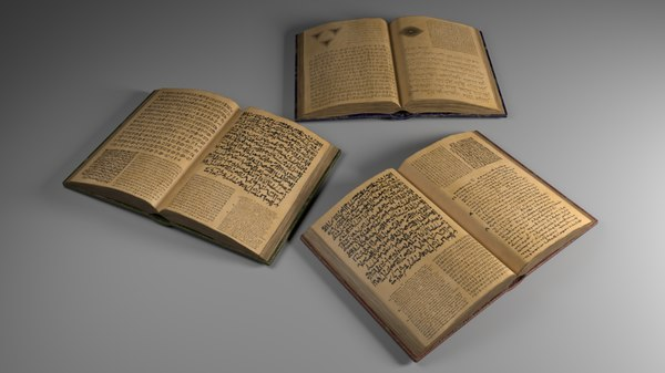 opened book ancient 3D model