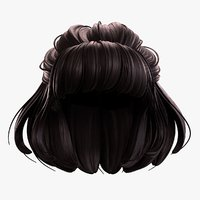 3D cartoon female hairstyle hair model