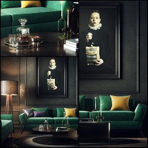black interior scene 3D model