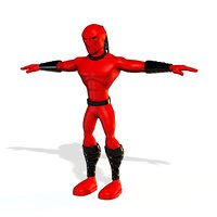 3D model red ninja fighter super hero