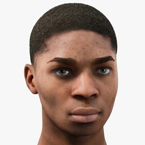 realistic 18s male head 3D model
