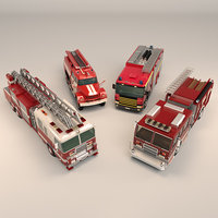 Low Poly Fire Truck Pack