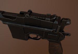 mauser pistol gun pbr 3D model