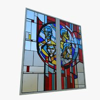 3D model stained glass window ussr