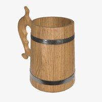 Beer mug wooden 01