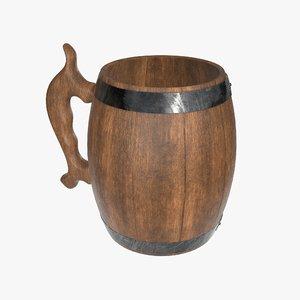 mug beer wooden 3D model