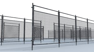 metal chainlink fence 3D model