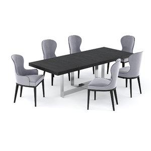3D model table jacques chair flexform