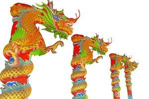 3D column pillar temple dragon