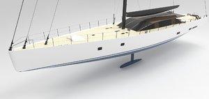 modern sailing yacht 3D