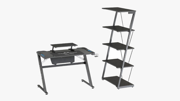 shelves gaming desk 3D model