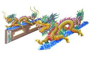 temple dragon balustrade 3D model