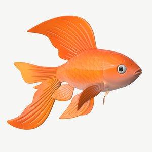3D fish cartoon goldfish model