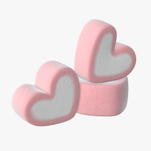 3D marshmallow candy heart model