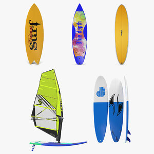 surfboards 3 board surfing 3D model