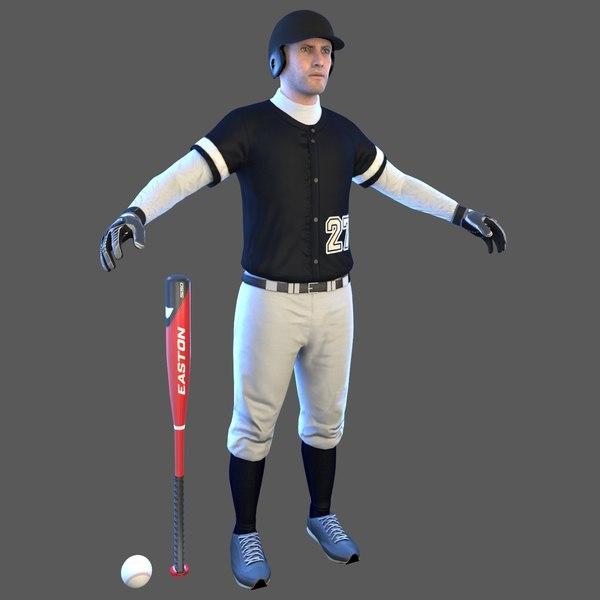 3D baseball player bat ball model