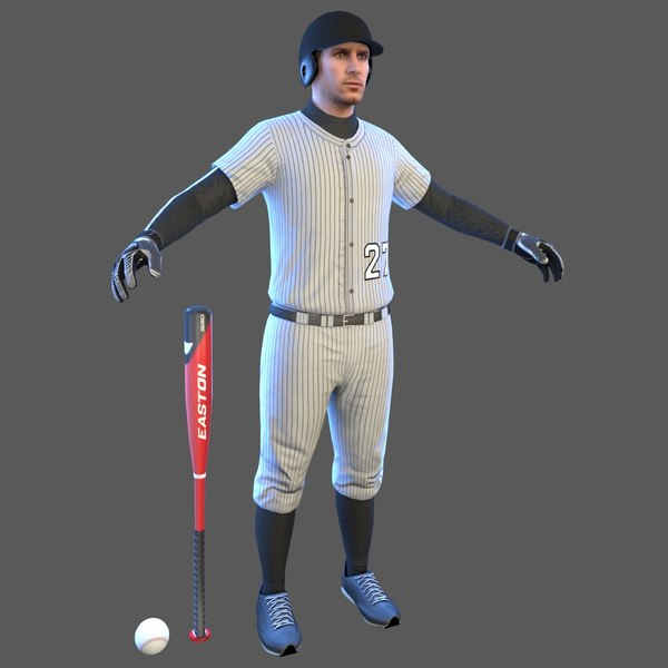 3D baseball player bat ball