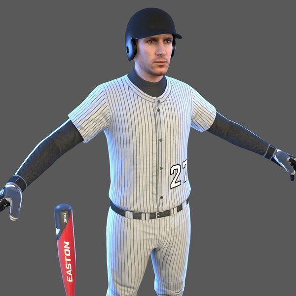 3D baseball player bat ball