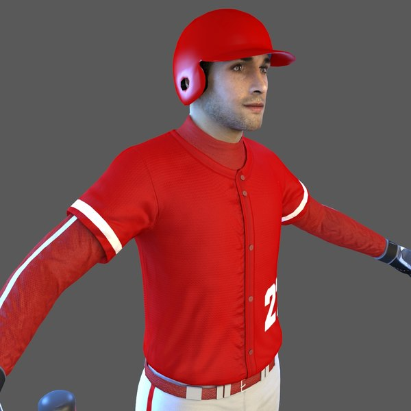 baseball player bat ball 3D model