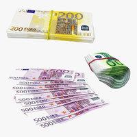 3D paper euro banknotes bank