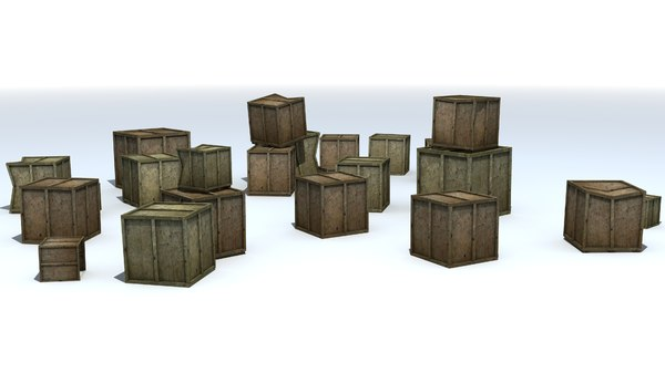 3D wooden crates boxes