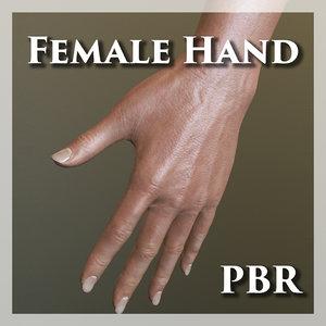 3D female hand pbr model