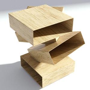 3D wood wooden bedside model