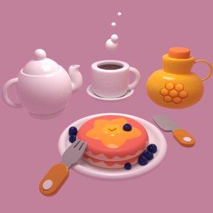 3D model mug teapot pancake