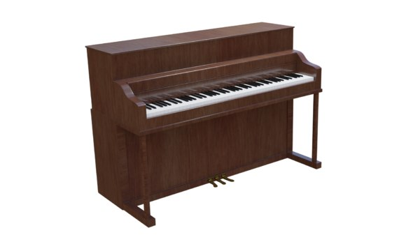 3D old upright piano