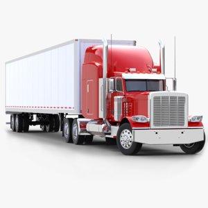 3D dry van semi-trailer truck model