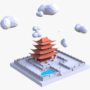 3D buddhist temple
