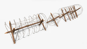 3D barbed wire obstacle pbr