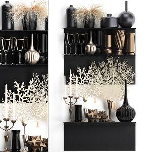 3D decorative set shelf coral model