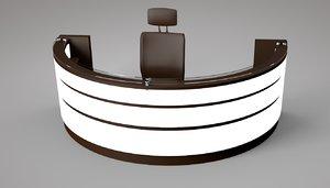 3D office wooden reception revolving