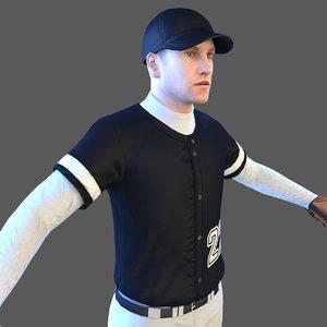 3D model baseball player ball