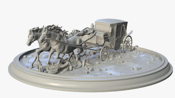 running horses carriage 3D model