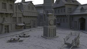 medieval village scene model