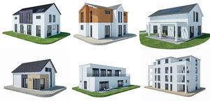 modern houses modeled 3D model