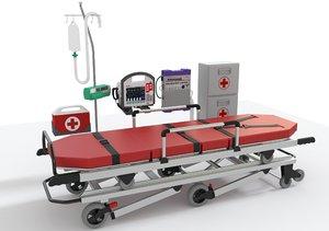 3D ambulatory equipment stretcher