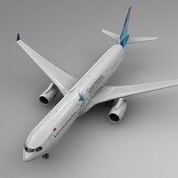 3D model airbus a330-300 garuda indonesia