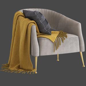 3D cult furniture bella armchair model