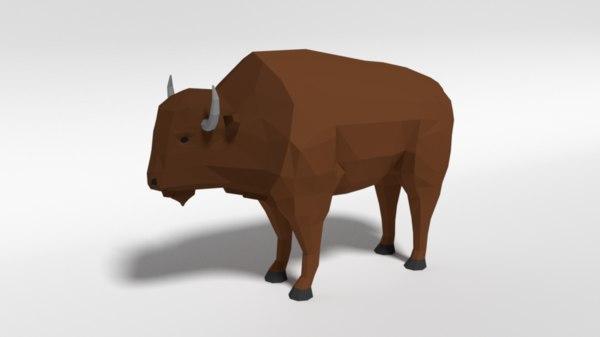 3D bison cartoon