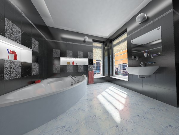 simple bathroom interior design 3D