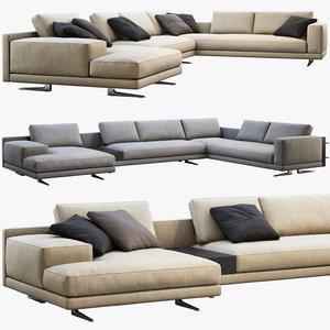 3D model poliform mondrian chaise lounge